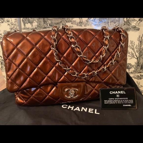 CHANEL Bags   Jumbo Brown Patent Leather Cc Flap Handbag   Poshmark 246735ef5b